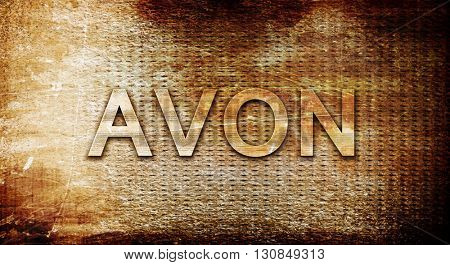 avon, 3D rendering, text on a metal background