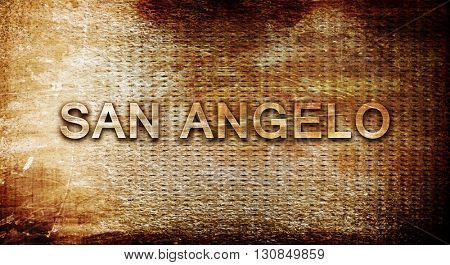 san angelo, 3D rendering, text on a metal background