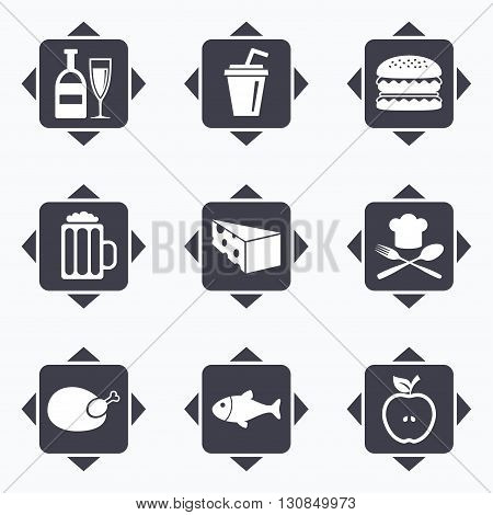 Icons with direction arrows. Food, drink icons. Beer, fish and burger signs. Chicken, cheese and apple symbols. Square buttons.