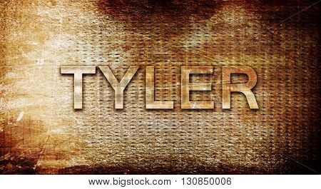 tyler, 3D rendering, text on a metal background