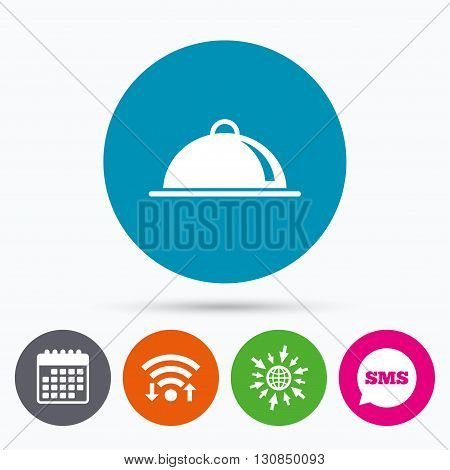Wifi, Sms and calendar icons. Food platter serving sign icon. Table setting in restaurant symbol. Go to web globe.