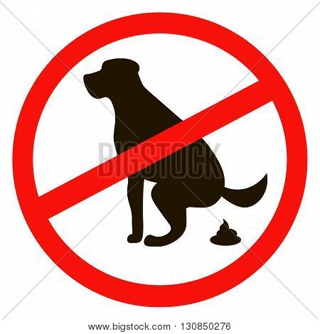 No dog pooping sign black silhouette on white background