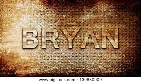 bryan, 3D rendering, text on a metal background