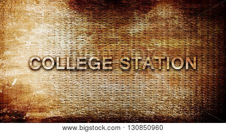 college station, 3D rendering, text on a metal background