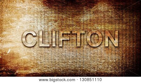 clifton, 3D rendering, text on a metal background