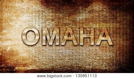 omaha, 3D rendering, text on a metal background