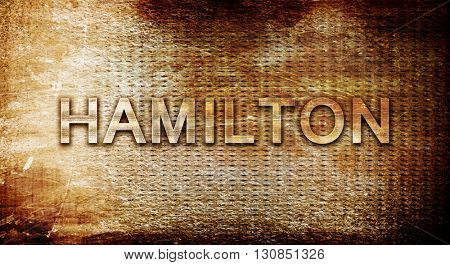 hamilton, 3D rendering, text on a metal background
