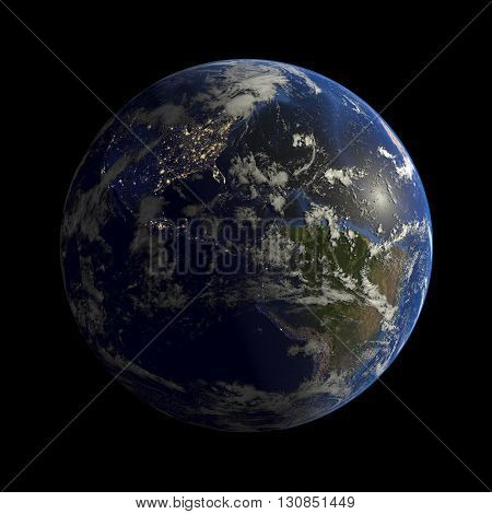 View of Earth isolated illustation 3d render