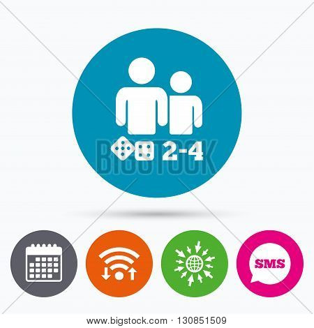 Wifi, Sms and calendar icons. Board games sign icon. From two to four players symbol. Dice sign. Go to web globe.