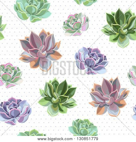 Bright succulents of different color vector seamless background