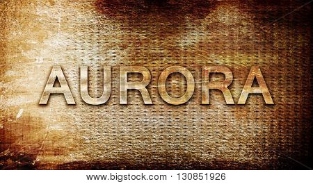 aurora, 3D rendering, text on a metal background