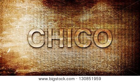 chico, 3D rendering, text on a metal background