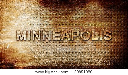 minneapolis, 3D rendering, text on a metal background