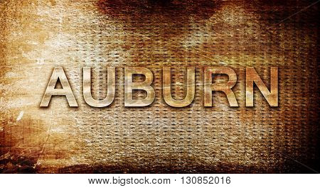 auburn, 3D rendering, text on a metal background