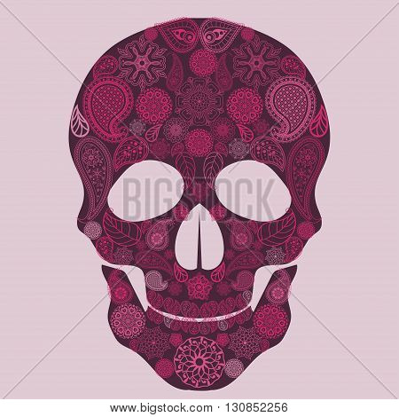 Floral skull Ornate Sugar Made from Flowers. Dead colorful paisley indian ornament, Tattoo design. Vector