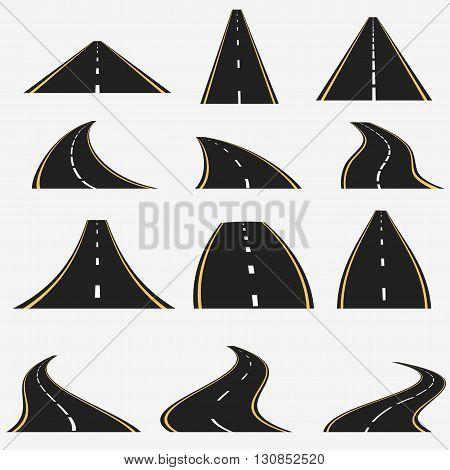 road line set, different perspective roads, highway asphalt path vector