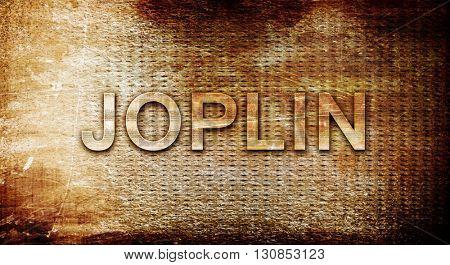 joplin, 3D rendering, text on a metal background