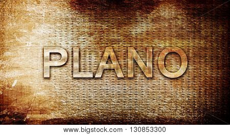 plano, 3D rendering, text on a metal background