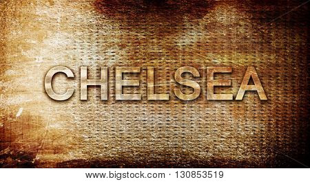 chelsea, 3D rendering, text on a metal background