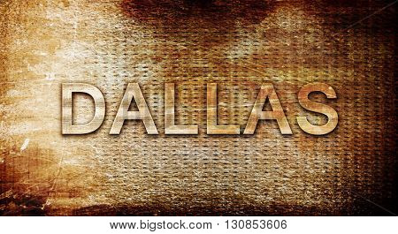 dallas, 3D rendering, text on a metal background