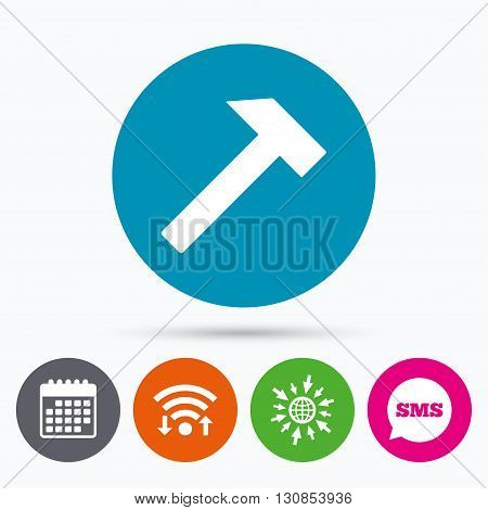 Wifi, Sms and calendar icons. Hammer sign icon. Repair service symbol. Go to web globe.