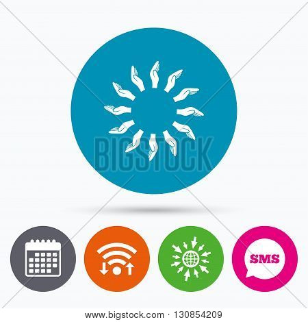 Wifi, Sms and calendar icons. Donation hands circle sign icon. Charity or endowment symbol. Human helping hand palm. Go to web globe.