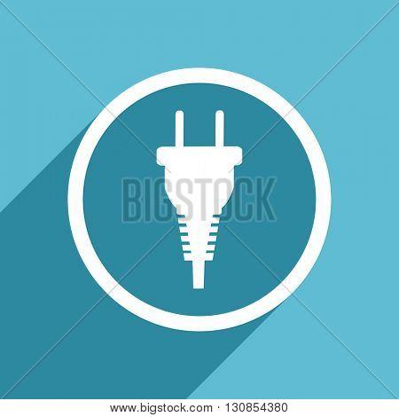 plug icon, flat design blue icon, web and mobile app design illustration