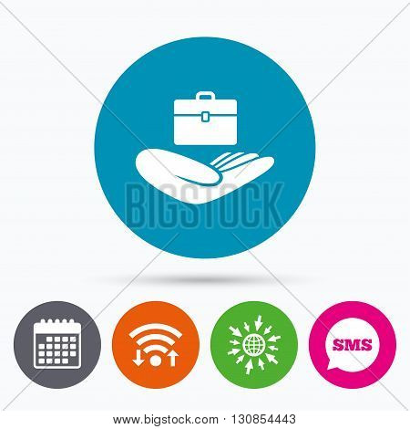 Wifi, Sms and calendar icons. Baggage insurance sign icon. Hand holds travel luggage. Protection from loss of baggage. Go to web globe.