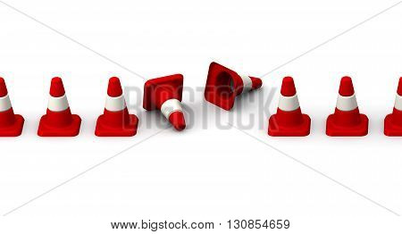 Downed traffic cones on white surface. Isolated. 3D Illustration