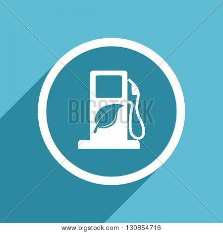 biofuel icon, flat design blue icon, web and mobile app design illustration