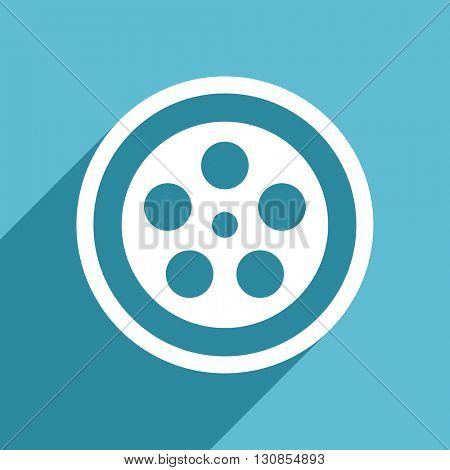 film icon, flat design blue icon, web and mobile app design illustration