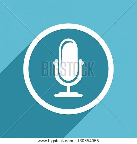 microphone icon, flat design blue icon, web and mobile app design illustration