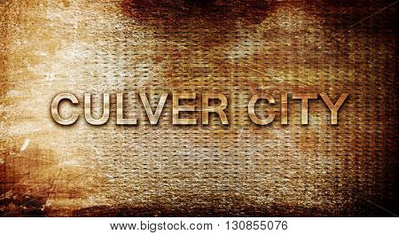 culver city, 3D rendering, text on a metal background