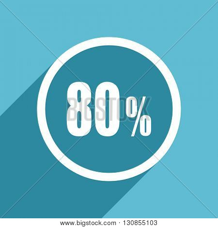 80 percent icon, flat design blue icon, web and mobile app design illustration