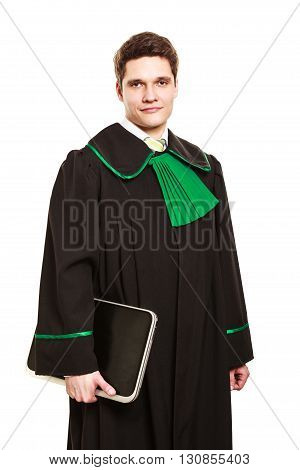 Young Male Lawyer Hold Closed Laptop.