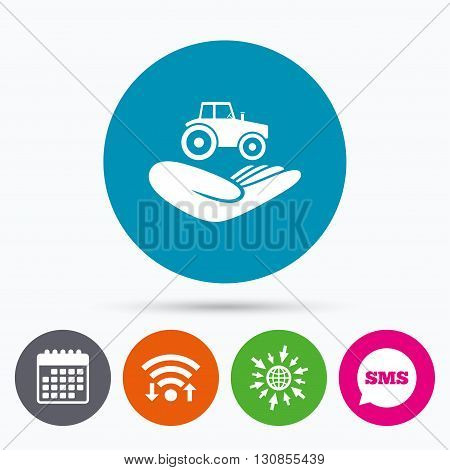 Wifi, Sms and calendar icons. Agricultural transport insurance sign icon. Hand holds tractor. Protection vehicle from damage and accidents. Go to web globe.