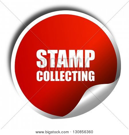 stamp collecting, 3D rendering, red sticker with white text