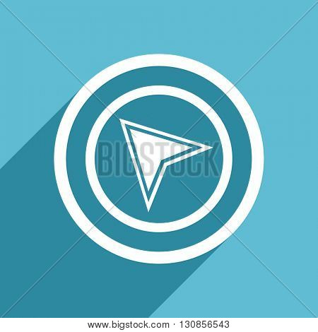 navigation icon, flat design blue icon, web and mobile app design illustration
