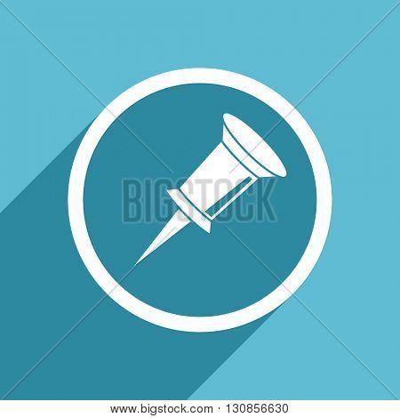 pin icon, flat design blue icon, web and mobile app design illustration