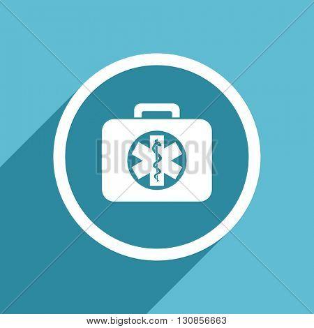 rescue kit icon, flat design blue icon, web and mobile app design illustration