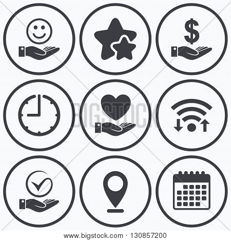Clock, wifi and stars icons. Smile and hand icon. Heart and Tick or Check symbol. Palm holds Dollar currency sign. Calendar symbol.