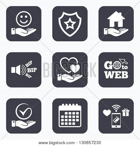 Mobile payments, wifi and calendar icons. Smile and hand icon. Heart and Tick or Check symbol. Palm holds house building sign. Go to web symbol.