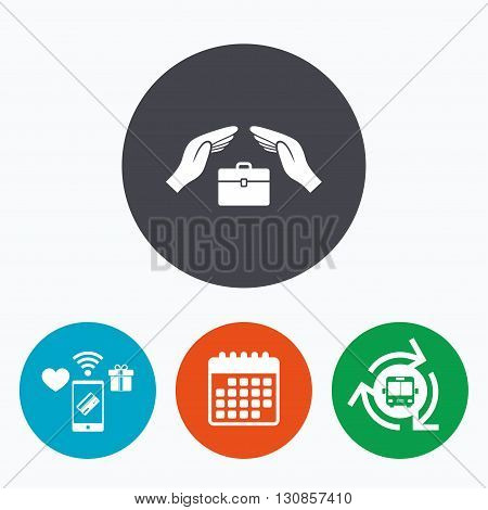 Baggage insurance sign icon. Travel luggage symbol. Travel insurance. Mobile payments, calendar and wifi icons. Bus shuttle.