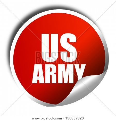 us army, 3D rendering, red sticker with white text