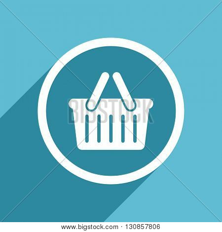 cart icon, flat design blue icon, web and mobile app design illustration