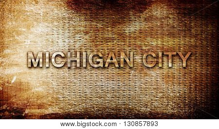 michigan city, 3D rendering, text on a metal background