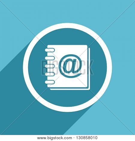 address book icon, flat design blue icon, web and mobile app design illustration