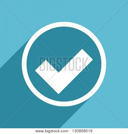 accept icon, flat design blue icon, web and mobile app design illustration