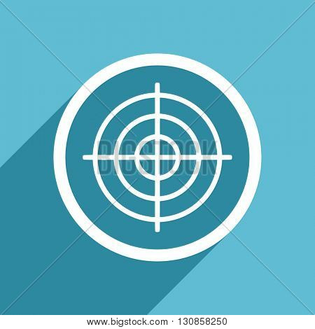 target icon, flat design blue icon, web and mobile app design illustration