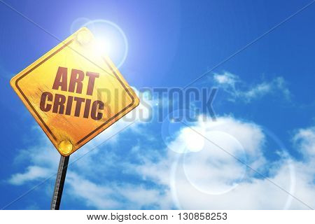 art critic, 3D rendering, a yellow road sign